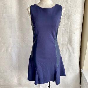 Stretch Leather Panel Bodycon Sleeveless Dress
